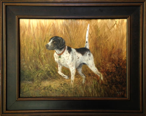 English Pointer in the Tall Grasses   11 X 14 oil on board   Sold   Anderson Art Center Auction Fund Raiser   2017