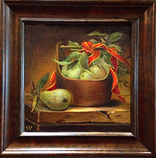 Red Ribbon and Green Pears - 9 X 9 oil | Invitation for Auction 2015 | Hartwell Art Center