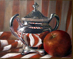 Silver and Stripes - 8 X 10 oil on board