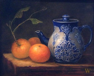 Three Oranges and a Teapot | 9 x 12 | oil on canvas | 2017 Anderson Art Center Juried Show | Sold