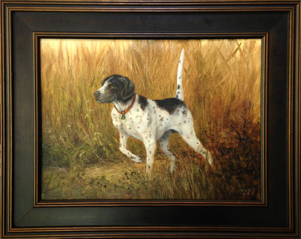 English Pointer in the Tall Grass | 11 X 14 oil | Sold, Anderson Arts Auction SC
