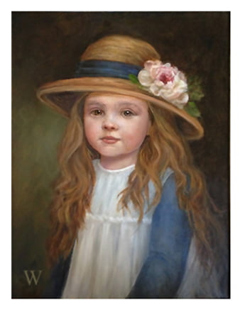 Girl With The Rose Hat | 11 X 14 oil | Hang It Up Gallery