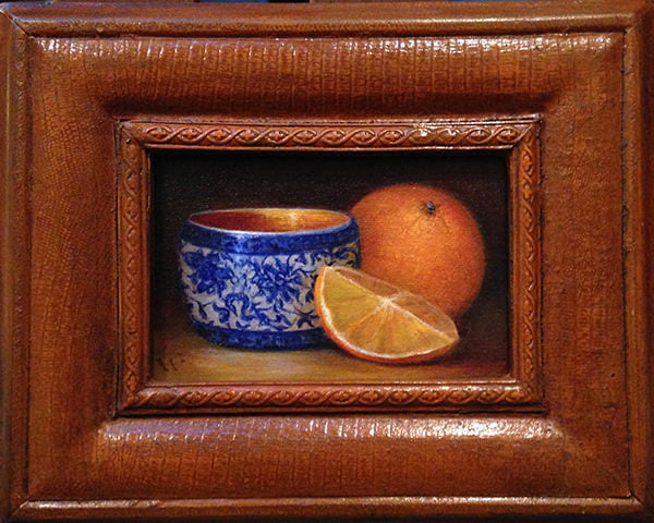 Citrus and Tea | 4 X 6 Oil | Part of 2018 Exhibition, Aspects of Oil | Wendy Rogers, Garrett Hamm, and Stacey McAdams | Anderson Art Center, SC | Sold